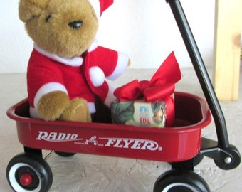 Radio Flyer Christmas Collection Little Red Metal Wagon with Santa Teddy and Gift Vintage but New in Box 7in Long 7in Tall LUVIT