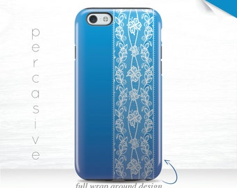 Royal Blue iPhone 6s Case iPhone 7 Case Faded Blue iPhone 6Plus Tough Case iPhone 5 Cover Edge Wrap White Lace iPhone 7 Plus Case 12v