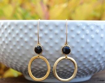 Onyx Gold Ring Earrings, Black and Gold, Long Earrings, Dangle Earrings