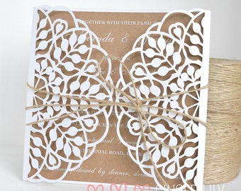 Rustic Laser Cut Wedding Invitation Handmade Sample - White Print