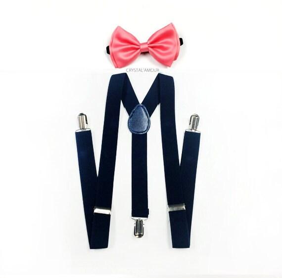 navy suspenders mens suspenders coral bowtie coral bow tie