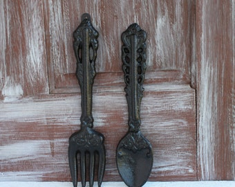 Large Fork and Spoon Kitchen Wall Decor, Farmhouse Kitchen Decor Oversized Utensils, Dining Room Decor, Kitchen Wall Art, Hand Painted Black