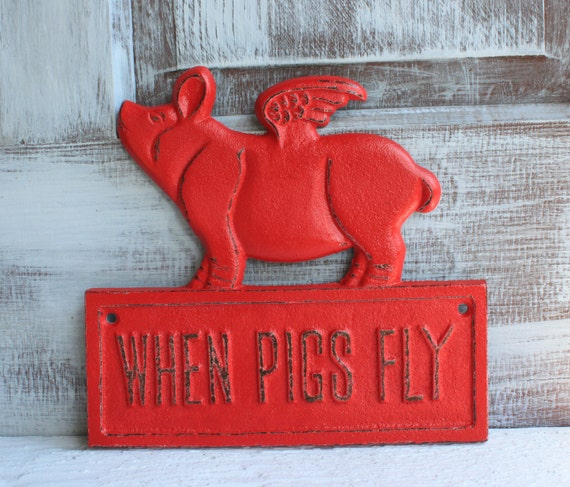 Pig Kitchen Decor: Flying Pig Cast Iron Red Farmhouse Kitchen Decor When Pigs Fly