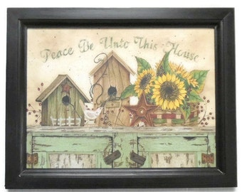 Sunflowers, Peace Be Unto This House, Art Print, Primitive, Country Decor, Wall Hanging, Handmade, 19X15, Custom Wood Frame, Made in the USA