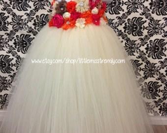 Fall Flower Girl Dress, Autumn Flower Girl Dress, Ivory Flower Girl Tutu Dress, Fall Flowers Tutu Dress, Ivory Flower Girl Dress, Ivory Tutu