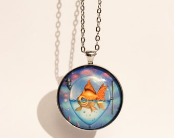 """Necklace with print of goldfish in balloon """"The Journey"""" (art by Susann Brox Nilsen). Lowbrow, illustration, gift, surrealism, cartoon fish."""