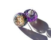 Holographic Space Earrings Cute Glitter Earrings Glitter Stud Post Earrings Hypoallergenic Stainless Steel Earrings