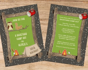 Cute Backyard Camp Out Kids Birthday Party Invites Children's Printable Personalized PDF / JPEG Digital Image Invitations Template