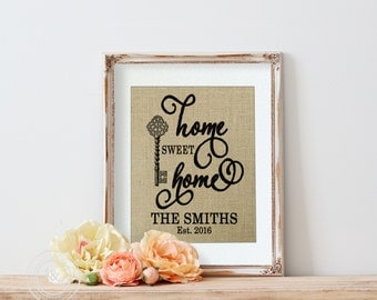 Home Sweet Home   Housewarming Gift   Gift for Mom   Family Name on Burlap   Personalized Family   Housewarming Gift on Burlap