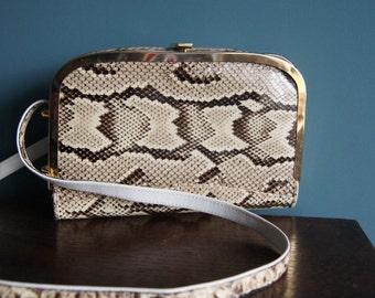 GENUINE PYTHON LEATHER vintage bag Snakeskin leather shoulder bag