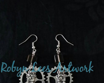 Futuristic Silver Earrings with 3D Robot, Large Cogs/Gears and Opaque Black Glass Cube Beads