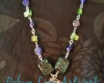 Silver Art Nouveau Lady and Flowers Necklace with Green Shell Beads, Blue Lustre Lampwork Beads and Dark Green Lampwork Beads, Nature Garden