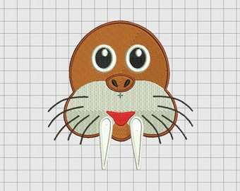 Walrus Tusk Embroidery Design in 4x4 5x5 and 6x6 Sizes