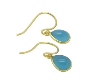 Dainty sky blue chalcedony gemstone teardrop 18k gold earrings, Bridal party and birthday gift, Delicate natural stone earrings,Gift for mum