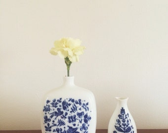 Porsgrund Made in Norway Ceramic Vase // Blue and White Porcelain Vase Home Decor