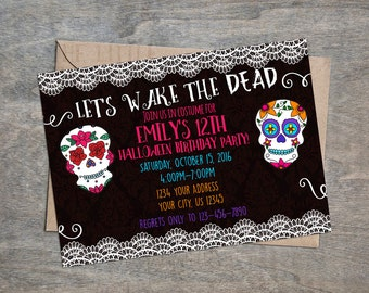 Sugar Skull Day of the Dead digital  Birthday Party Invitation | Skulls Dia de los Muertos Halloween