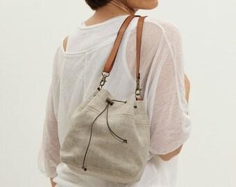 Natural linen bucket bag, small shoulder bag,natural color, vegan bag, rustic linen, summer bucket bag, cross body bag, small bag, original