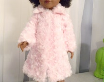 americangirl pink fur coat ,doll 18 inches