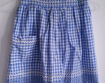 Blue and White Gingham Apron with Embroidery and Rick Rack Trim