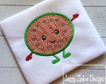 Round Watermelon Boy Appliqué Embroidery Design - watermelon appliqué design - summer appliqué design - fruit appliqué design - picnic