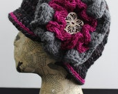 Grey Multicolored Crocheted Cloche with Layered Flower