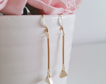 Minimalist Geometric Collection   Gold Plated Triangle Rod Bar Minimalist Geometric Dangle Drop Earrings, Gift for her, Valentine Gift