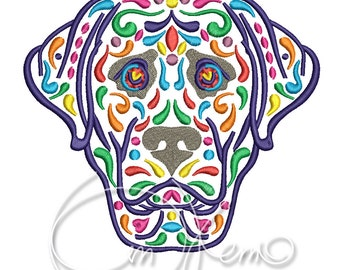 MACHINE EMBROIDERY DESIGN - Calavera labrador, Dia de los muertos, Mexican design, Halloween design, calavera dog, Day of the dead, lab