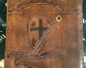 Hand Carved Leather Bible Cover Distressed Sword and Shield Design