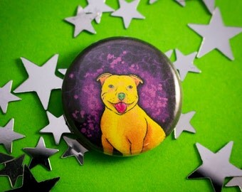 "Yellow Staffy 1"" (25mm) Cute Dog Pinback Button Badge"