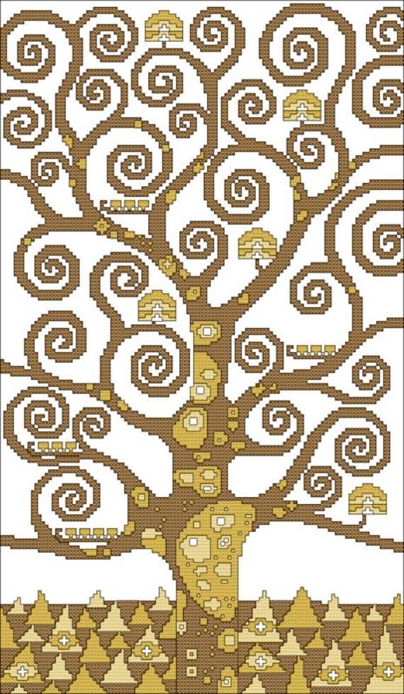 Schema punto croce albero della vita di gustav for Immagini di punto croce