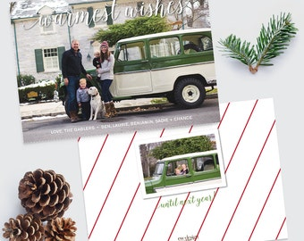 Custom Warmest Wishes Holiday Photo Card / Personalized Holiday Card / Christmas Card / Printed or Printable Holiday Photo Card  - Printed