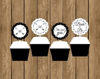 Black White and Silver Cupcake Toppers, Instant Download Cupcake Toppers, Bridal Shower, Bride to Be, She Said Yes, Cupcake Toppers,