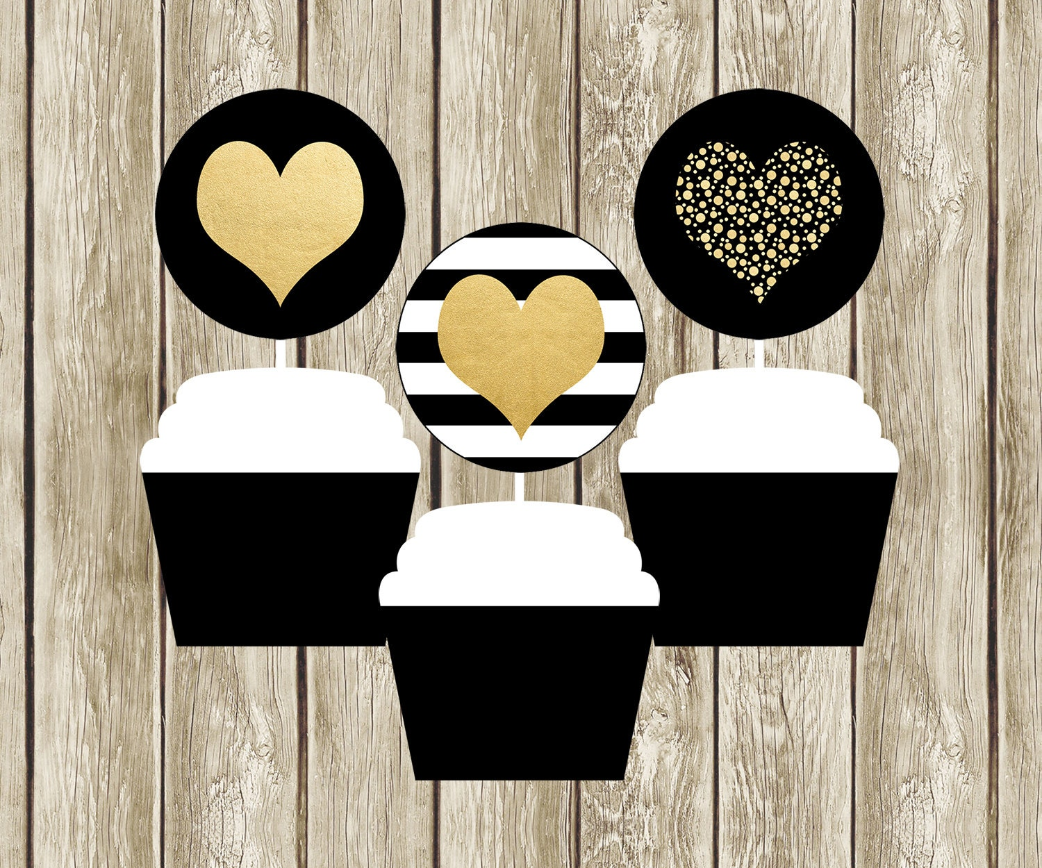black white and gold cupcake toppers printable cupcake. Black Bedroom Furniture Sets. Home Design Ideas
