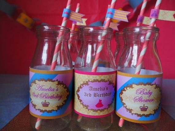 PRINCESS - PERSONALISED - Child - Birthday - Party - Shower - Pink - Gold - Blue - Bottle Labels - Girls - PRINTABLE - Pdf - Digital