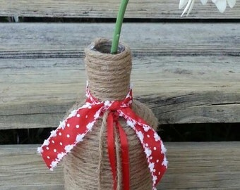 Rustic Jingle Bell Twine Wrapped Vase