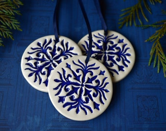 Delft Christmas ornaments, white ceramic decorations, winter home decor, gift for hostess, housewarming gift, Set of 3