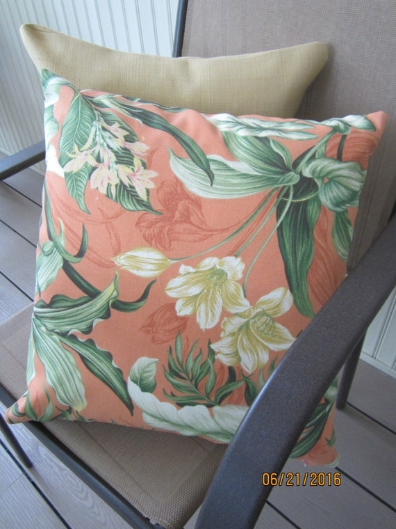 Set of two Waverly Sun N Shade orange floral fabric throw pillow indoor outdoor 18x18