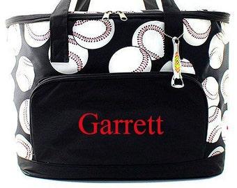 Monogrammed Cooler  Baseball Insulated Monogrammed Cooler Bag  Personalized Tailgating Cooler