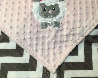 Personalized Minky Baby Blanket Grey with Baby Pink Minky, Lamb Blanket, Monogrammed Blanket