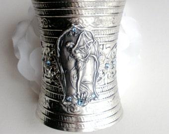 Art Nouveau Cuff Bracelet, Lady in a Lily Cuff Bracelet, Swarovski Crystals, Art Nouveau Jewelry, Extra Wide Cuff Bracelet, Gift for Her