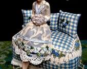 Porcelain Half doll w/LEGS, Pincushion doll, Dresser Doll, Boudoir Doll, French Country Decor-Original Artist Design-OOAK