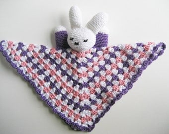 pink purple bunny, Easter Bunny Snuggly, stuffed bunny, rabbit plushy, baby lovey, rabbit stuffy, purple cotton bunny, bunny lovey