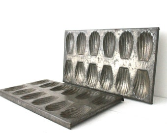 Lovely Large French Vintage Cake French Madeleine Mould x 2 . 1930.