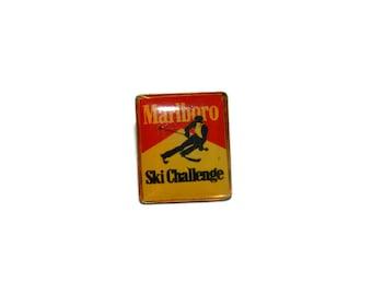 Marlboro Ski Challenge Brooch, Cigarette Pin,
