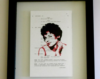 FRAMED Pink Ladies RIZZO Print on Vintage, Grease Movie script page, (Stockard Channing)