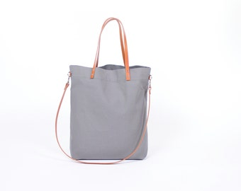 "Canvas bag ""Greta"" grey / / blue white striped with leather handles"