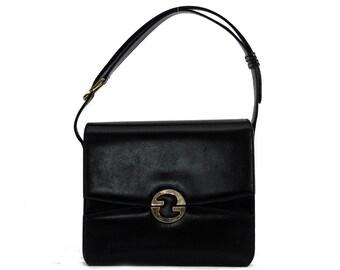 Vintage Gucci bag / black leather shoulder bag