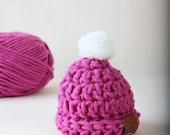 Ava // Preemie 5-6 lb handmade crochet knit chunky beanie // Orchid