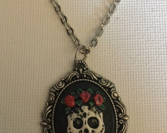 Handpainted Skull Skeleton Necklace