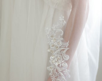 lace flower veil ,Bridal blusher wedding veil - bridal  veil with lace  flowers and pearl beads----v113